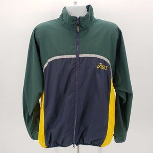 Vintage Asics Green Blue Yellow Windbreaker Jacket